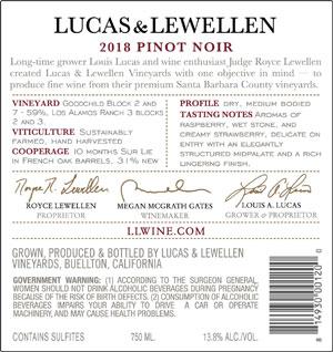 2018 Lucas & Lewellen Pinot Noir Santa Barbara County front label