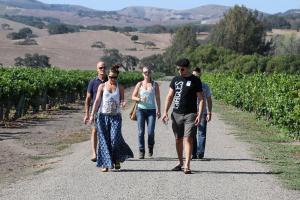 A photo of Wine club members visiting Los Alamos Vineyard