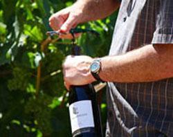 A photo of Mike Lewellen opening a wine bottle