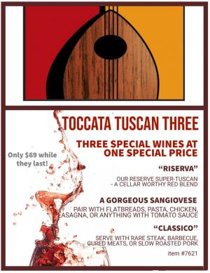 Graphic of Toccata wines logo with listing of wines included in Tuscan Three Pack: Riserva, Classico and Sangiovese